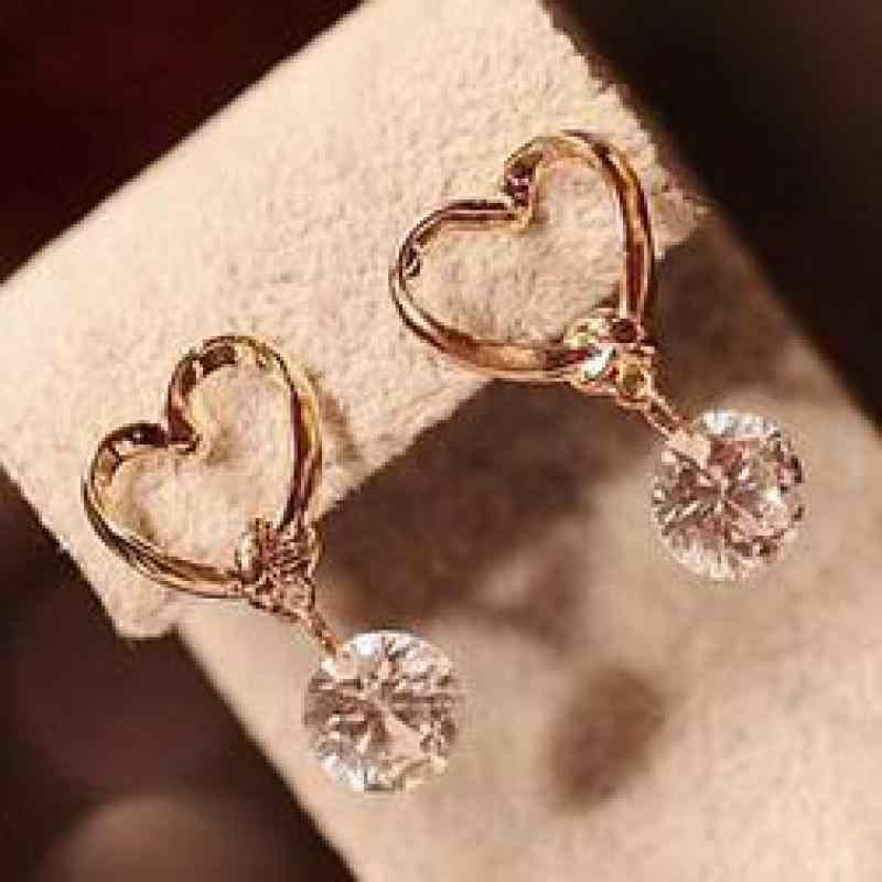 Korean fashion luxury charm drop pierced earrings zircon women love jewelry wholesale gift  free shipping