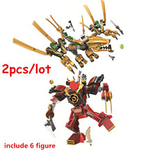цена на Ninjagoed Legacy Samurai Mech Golden Dragon Building Blocks Kit Bricks Classic Movie Ninja Model Kids Toys For Children gift