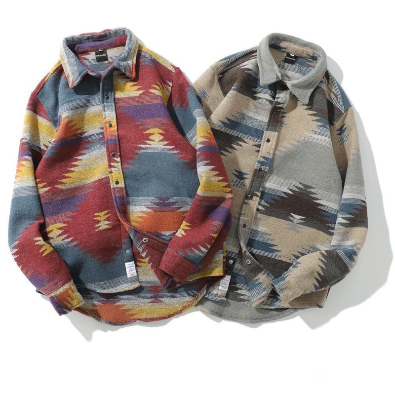 2019 Folk-custom Shirts For Men Vintage Woolen Leisure Pattern Shirt Men Plus Size Shirt