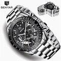 BENYAR мужские часы Топ бренд Роскошные часы кварцевые военные наручные часы мужские часы хронограф бизнес часы Relogio Masculino