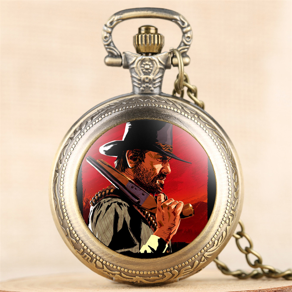 Classic Bronze Red Dead Theme Pocket Watch For Boy Glass Dome Face Redemption Fob Pendant Watches Gift For Men Drop Shipping