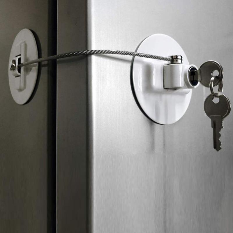 Security Refrigerator Door Lock With 2 Keys Fridge Freezer Child Proof Safety Lock Drawer Door Cabinet Toilet Lock