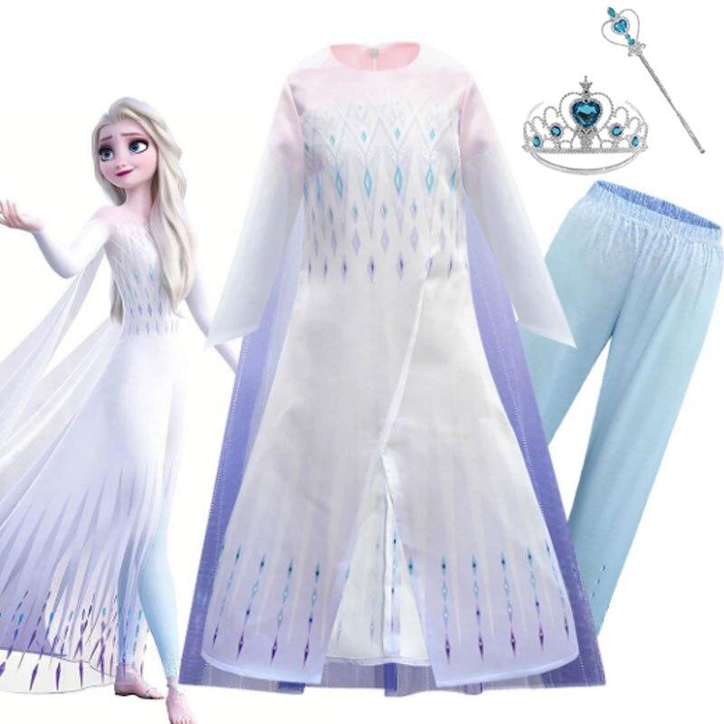תחפושת אלזה מלשבור את הקרח עם שמלה, מכנס שרביט וכתר