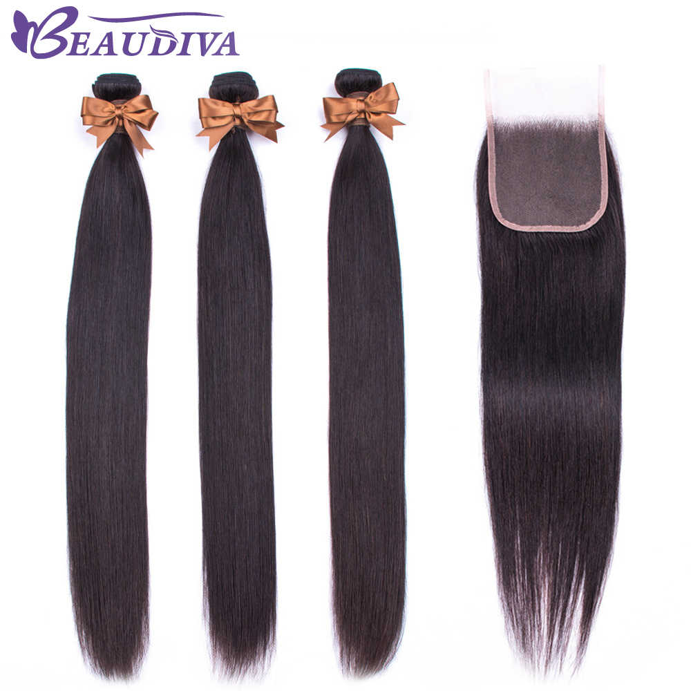 BEAUDIVA Human Hair Bundles With Closure Natural Color Brazilian Straight Hair Weave Bundles With Closure