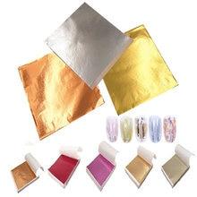 Imitation de feuille d'or, 100 pièces de feuille de cuivre, pour dorure, Art, décoration d'ongles, décoration d'ongles, 9x9cm, feuille d'or Rose