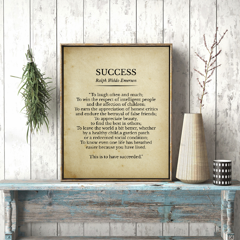 Success Ralph Waldo Emerson Poem Print Inspirational Quotes Vintage Poetry Poster Literature Wall Art Canvas Painting Home Decor image
