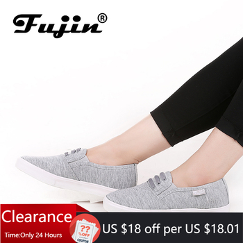 Fujin canvas shoes women's chaussures femmes women casual comfortable canvas flat shoes female spring summer slip on loafers veowalk striped women casual cotton cloth loafers handmade slip on ladies thick hemp soled canvas flat shoes zapato mujer