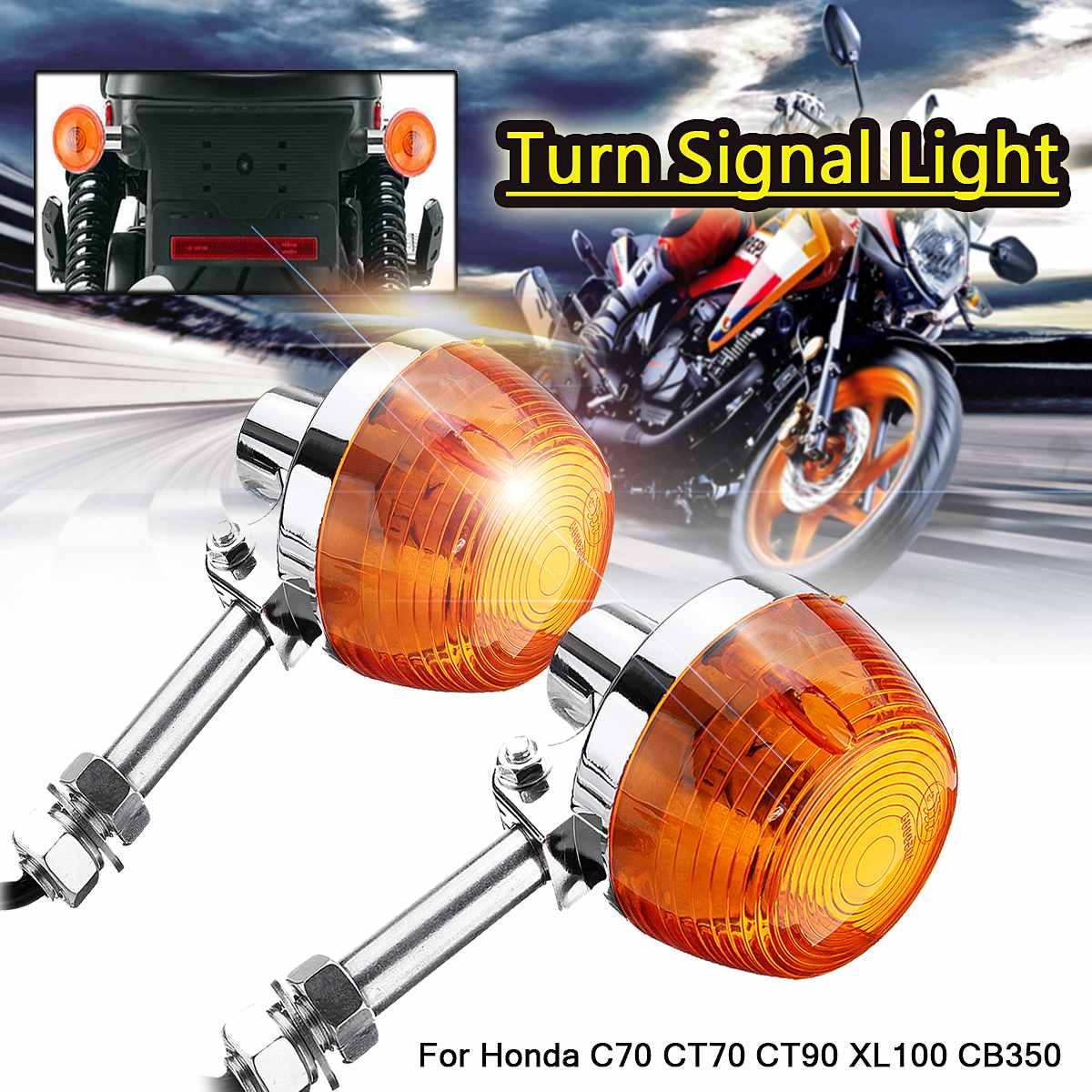 2X Motorcycle Turn Signal Light Moto Indicators Flashers Blinkers Lamp For Honda C70 CT70 CT90 XL100 CB350 CM400 CB450 CB750