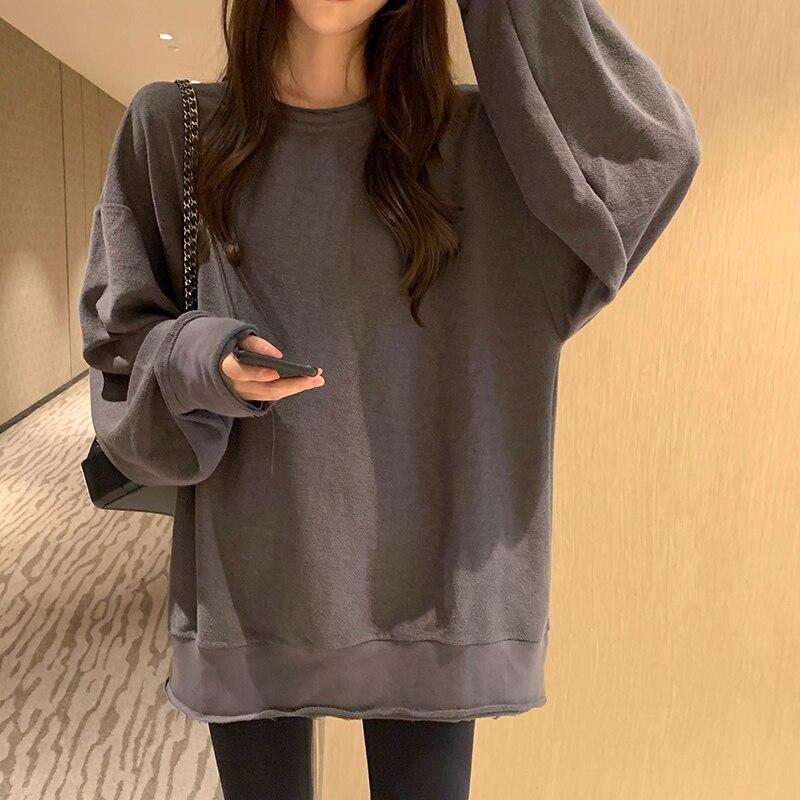 2019 Autumn Korean Ins Style Solid Color Loose Dark Grey Long-sleeve Pullovers Sweatshirt Womens (R88881)