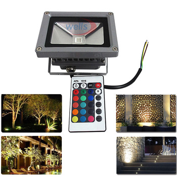 Waterproof IP65 10W LED Flood Light AC 85-265V White/Warm White/Red/Green/Blue/RGB Outdoor Multicolor Spotlight+ 24key IR Remote