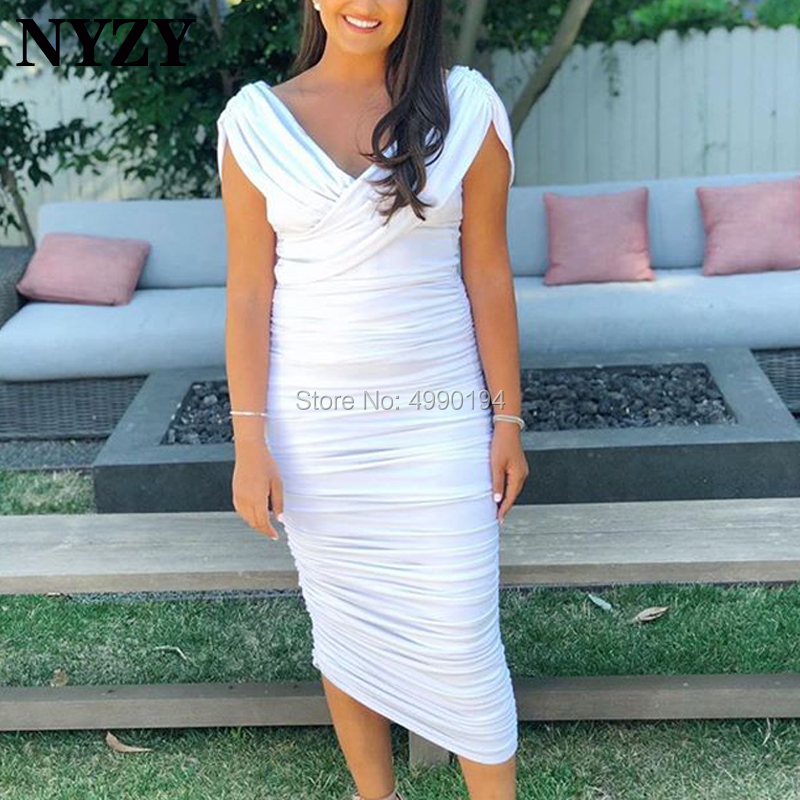 Robe Cocktail Dresses NYZY C226 White Jersey Pleats Dress For Party Evening Prom Graduation Homecoming 2019