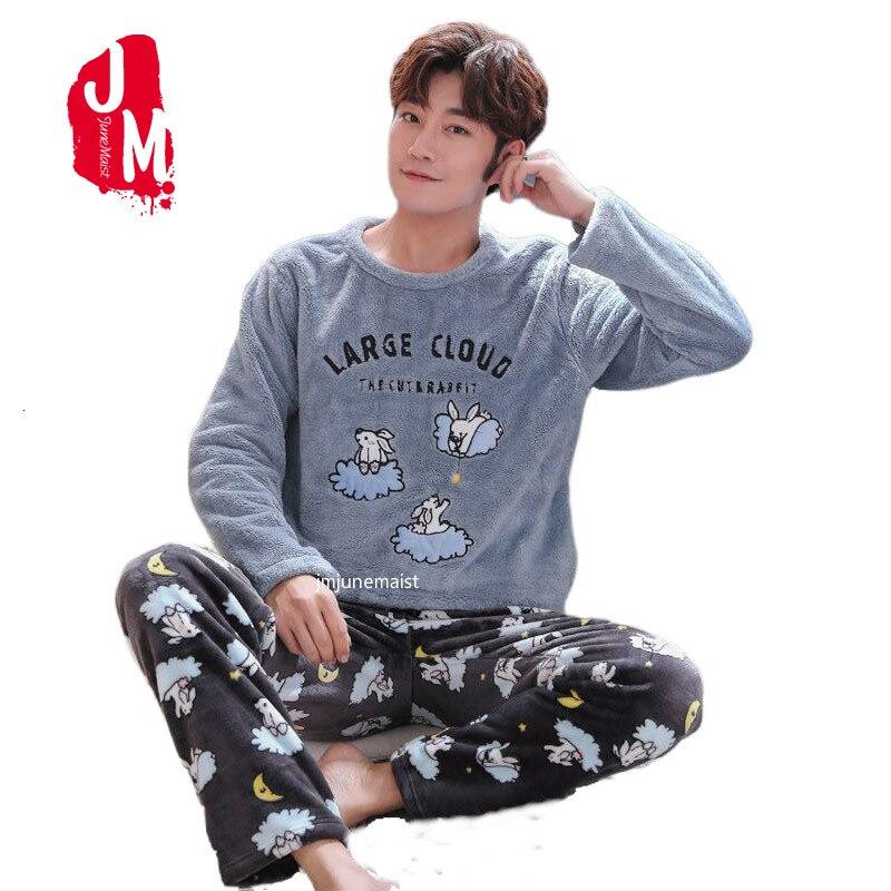 Winter Flannel Pajama Sets For Men Long Sleeve Thick Warm Coral Velvet Cartoon Sleepwear Suit Loungewear Homewear Plus Size 4XL