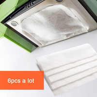 6 uds/vanzlife campanas de cocina se pueden cortar filtro papel absorbente papel anti-aceite pegatinas para gases, 6 uds por lote