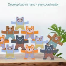 Educational-Toys Wood for Kids Blocks Stacking-Games Balancing Toddler Bear