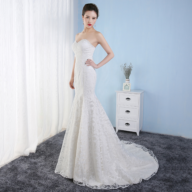 Beautiful Lace Wedding-Dresses White Ivory Mermaid Wedding-Dresses Fishtail Vestido De Noiva Court Train