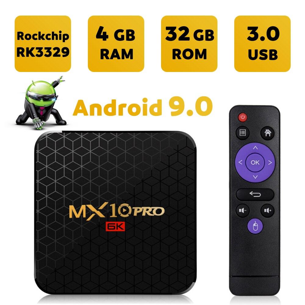 Android 9.0 TV Box MX10PRO 4GB 32 GB/64 GB Allwinner H6 Quad Core WiFi USB 3.0 HDMI 2.0 HDR TV récepteur décodeur 6K Smart