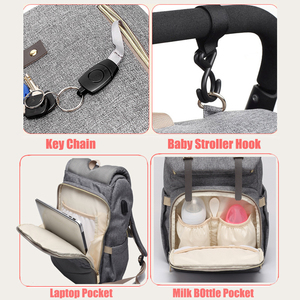 Image 4 - Diaper Bag USB Baby Nappy Bag Mummy Daddy Backpack Large Capacity Waterproof Casual Laptop Bag Rechargeable Holder for Bottle