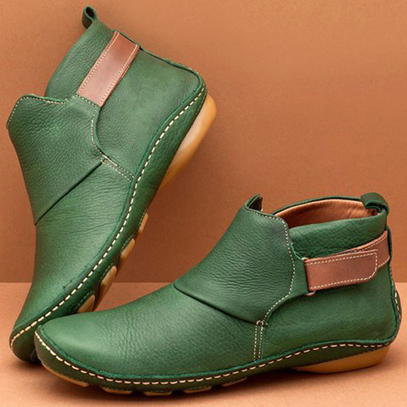 Autumn Vintage Women Boots Ladies Retro Ankle Boots Handmade PU Leather Fashion Round Toe Velcro Flat Ladies Boots For Women
