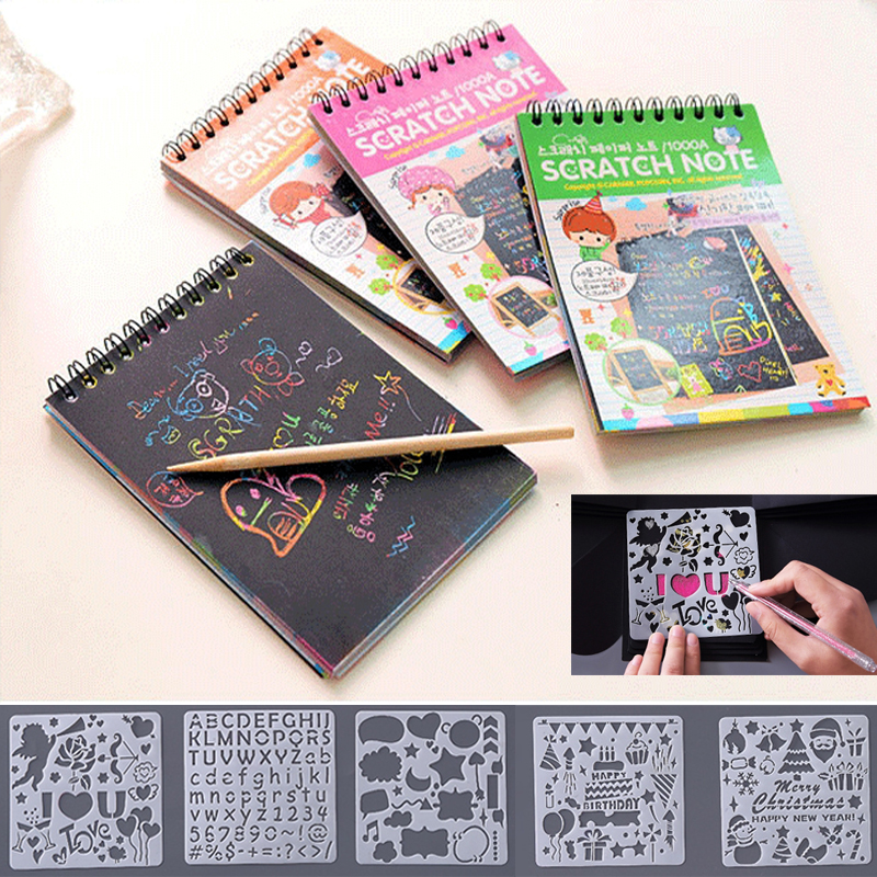 12 Sheets Magic Color Rainbow Scratch Art Paper Card Set With Graffiti Stencil For Drawing Stick DIY Scratch Painting Toy Kids