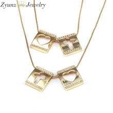 Collier avec pendentif en CZ fait à la main pour femmes, 10 pièces, 12x14mm, cadeau, croix ouverte et cœur