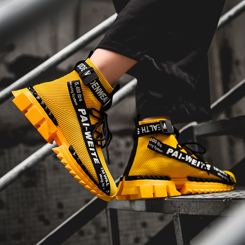 Image 5 - 2019 High Ankle Junior New Cool Walking Sneakers Breathable Spring Trendy Shoes for Boys Yellow Boots Sport Shoes Men Size 39 48Running Shoes   -