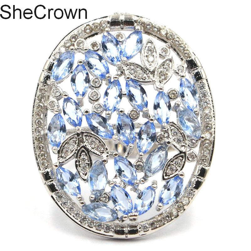 31x25mm Stunning Rich Blue Violet Tanzanite White CZ Gift For Girls Silver Ring