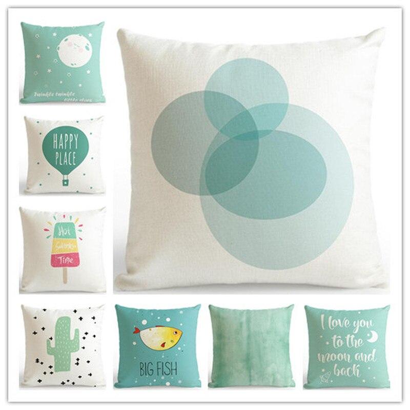 Original Small Fresh Nordic Mint Green Pillowcases Simple Polyester Printed Lumbar Pillow Sofa Bay Window Bedding Cushion Cover