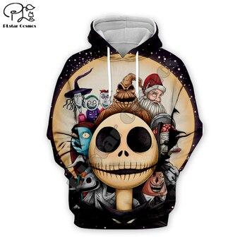 цена на Santa Claus Jack Skelling Moon print Men 3d Hoodies skull Pumpkin Christmas women Halloween Sweatshirt tshirt zipper pullover