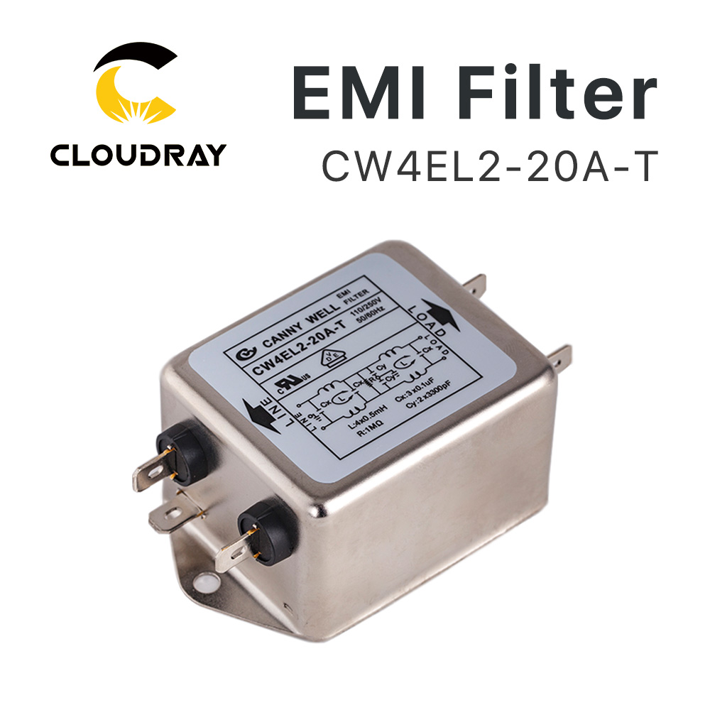 Cloudray Power EMI Filter CW4L2-10A-T / CW4L2-20A-T تک فاز AC 115V / 250V 20A 50 / 60HZ حمل و نقل رایگان