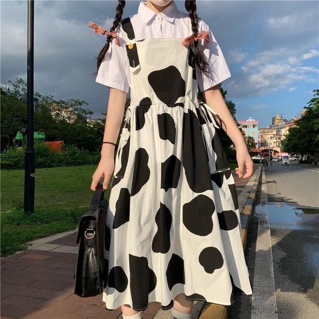 QWEEK Women's Kawaii Cow Print Dress Lolita Milk Cute Sundress Japanese Harajuku Style Cute Kawaii Lolita Dress Outfit Mori Girl 1