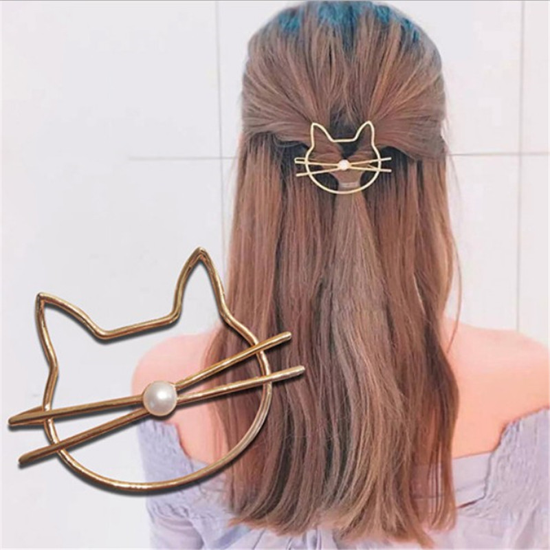 Hollow Women Girl  Hair Pin  Cute Cat Hairpin Barrette Pearl Hair Clip