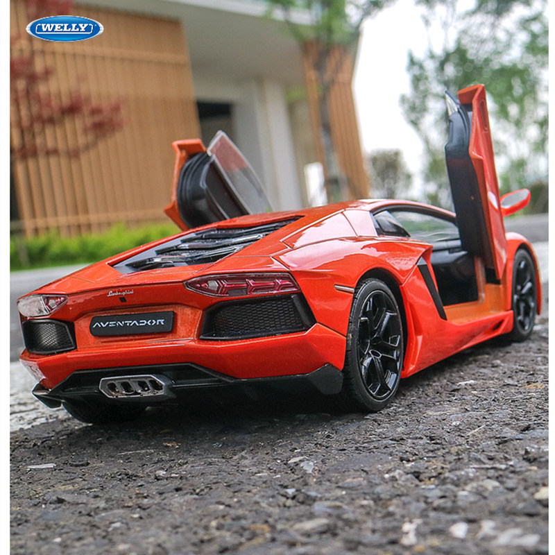 WELLY 1:24 Lamborghini LP700-4 Red Car Alloy Car Model Simulation Car Decoration Collection Gift Toy Die Casting Model