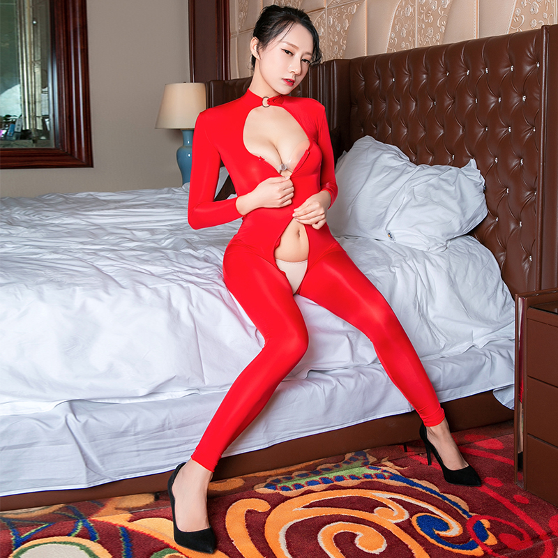 See through Women Choker Necklace Collar Open Cup Jumpsuits Cat suit Nightclub Costumes Sexy Open Bra Crotchless Full Bodysuits