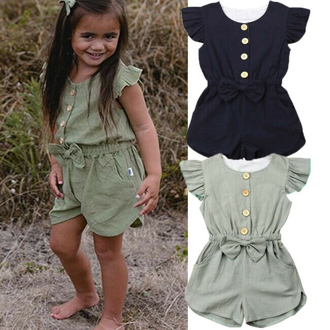 Summer Kids Toddlers Girls  Sleeveless Ruffle Jumpsuit Outfits
