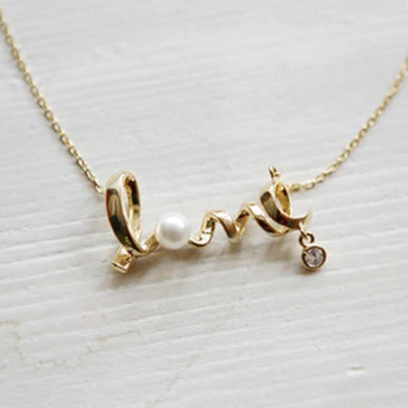 Carta pérola pingente colar moda jóias gargantilha colar de aniversário de casamento melhor presente