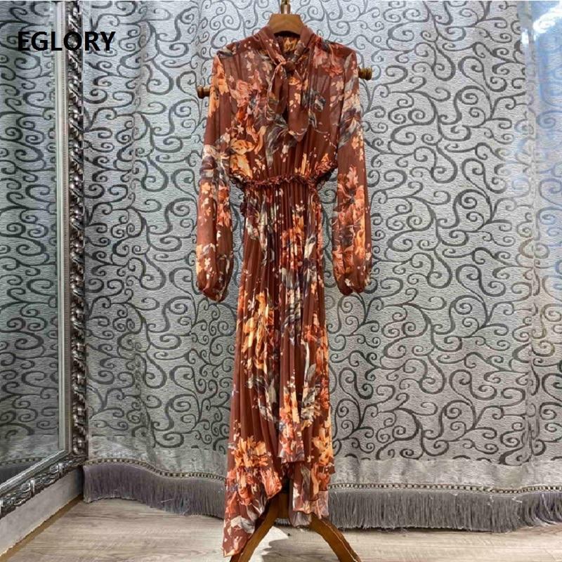 Bow Tie Elegant Long Dress 2019 Autumn Style Women Vintage Flower Print Long Sleeve Pleated Long Maxi Dress Casual Party Ladies