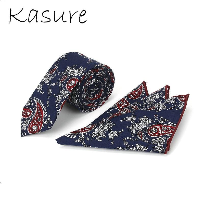 KASURE Men's Floral Necktie Handkerchief Sets Cotton Printing Hanky Tie Set Wedding Party Handkerchief Pocket Square