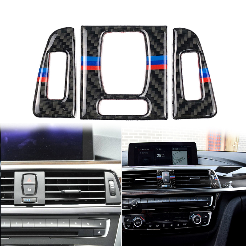 3pcs Carbon Fiber Car Center Console A/C Vent Air Conditioning Outlet Panel Outlet Frame Cover Trim For BMW 3 Series 4 F30 F31