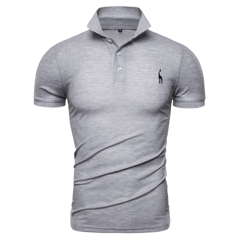 2020 Summer Fashion Mens Polo Shirts Solid Slim Fit Turn-down Collar Cotton Polo Shirt Men Giraffe Embroidery Brand Men Clothing