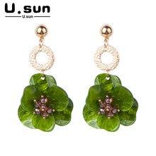 Trendy Flower Earrings Fabric Resin Acrylic Fashion Irregular Geometric Drop for Women Elegant Colorful Ladies Jewelry