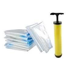 6 шт. вакуумные пакеты для хранения с ручным насосом сверхмощные компрессионные пакеты для хранения пространства Saver уплотнение пакет для одеяла одежды одеяло