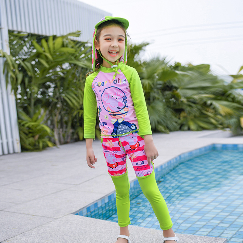 New Style Bathing Suit Fashion Sweet Cute Split Type Long Sleeve Trousers KID'S Swimwear 9055