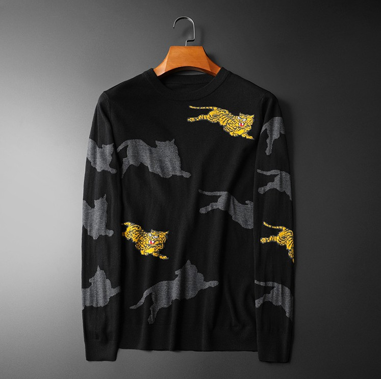 New 2019 Men Luxury Winter Roar Embroidered Leopard Tiger Casual Sweaters Pullover Asian Plug Size High Quality Drake #M84