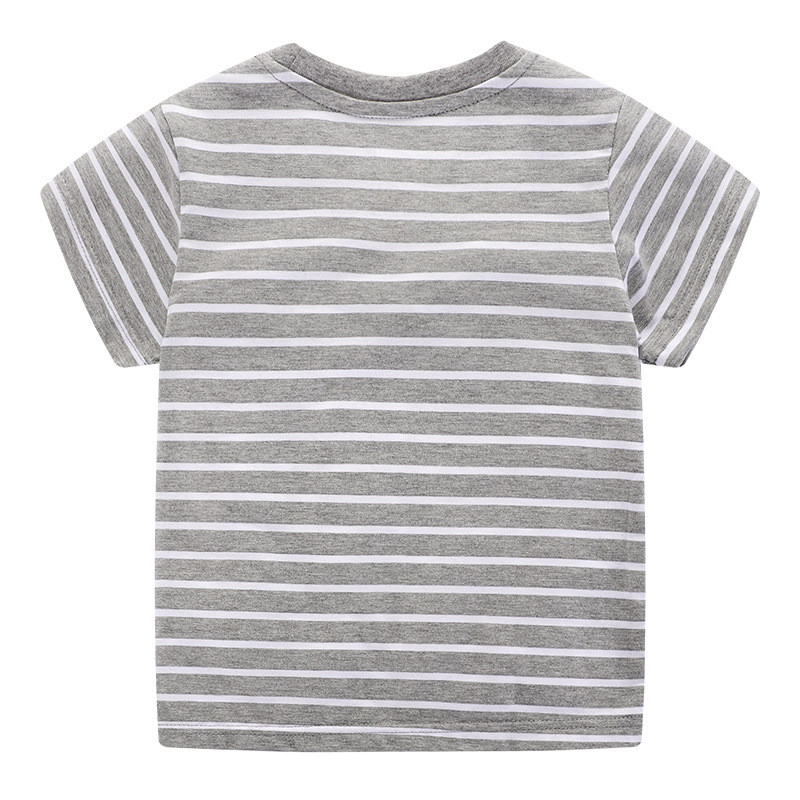 Jumping Meters New Boys Cotton Tops for Summer Children Clothes Hot Selling Stripe Applique tractor Kids T shirts 2