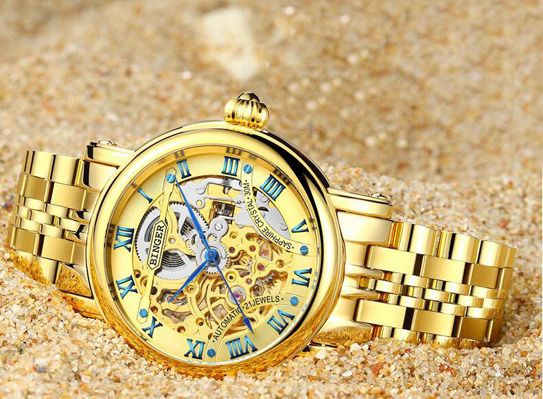 BINGER Relógios de Ouro Das Mulheres Dos