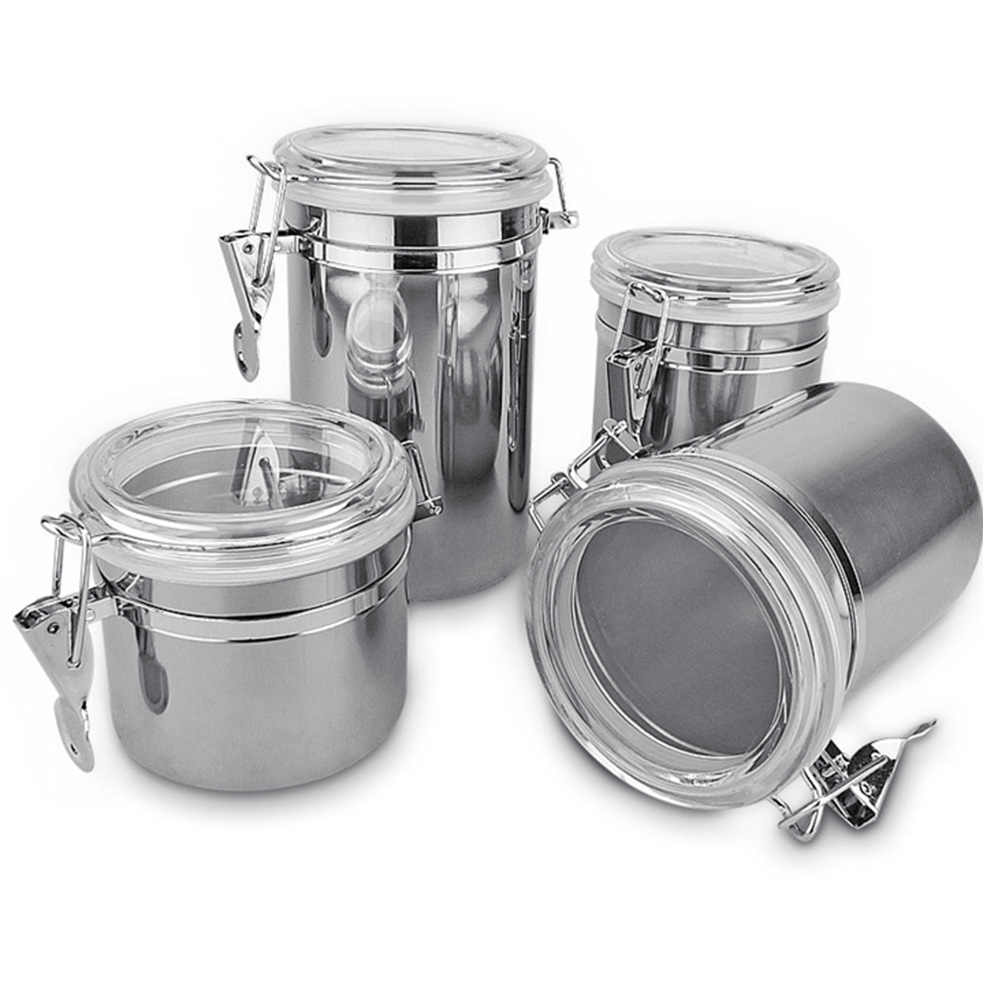 Stainless Steel Tea Coffee Sugar Biscuit Pasta Utensil Canisters Container L