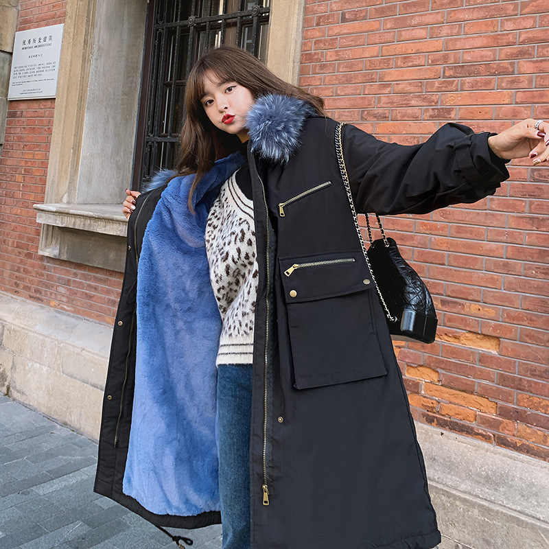 Fashion New of the Korean Version of Women's Medium and Long-style Female Down and Cotton Garments with Big Hair Collar and Hat