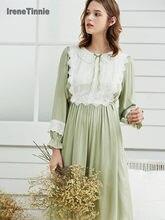 Nightgown Women Sleepwear Knee-Length Dress Cotton Nightgowns Women Princess Sleepshirts Vintage Nightdress Long Sleeve