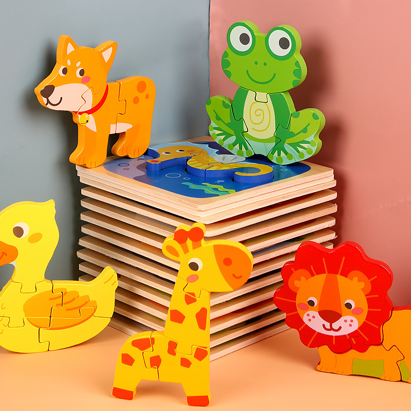 Kids Toy Wood Puzzle Wooden 3D Puzzle Jigsaw For Children Baby Cartoon Animal Traffic Puzzles Educational Toy Montessori Toys