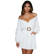 Sexy Women Elegant Dress Belt Lantern Sleeve Off Shoulder Mini Women Dress Long Sleeve Women Clothes Dresses Woman Party Night sexy long sleeve off the shoulder belt design sweater dress for women